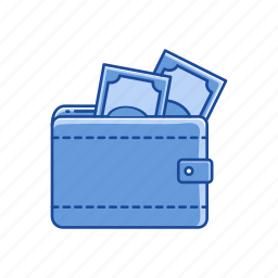 cash on wallet, leather, purse, wallet icon