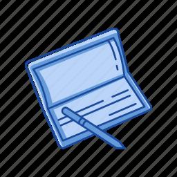 bank book, bank check, check, pay check icon