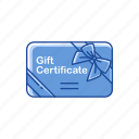 certificate, coupon, gift, gift certificate icon