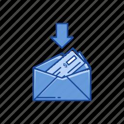 arrow, cash, dollar, receive money icon