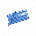 bank check, check, one hundred dollars, pay check icon