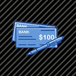 bank check, check, one hundred dollars, pay check icon