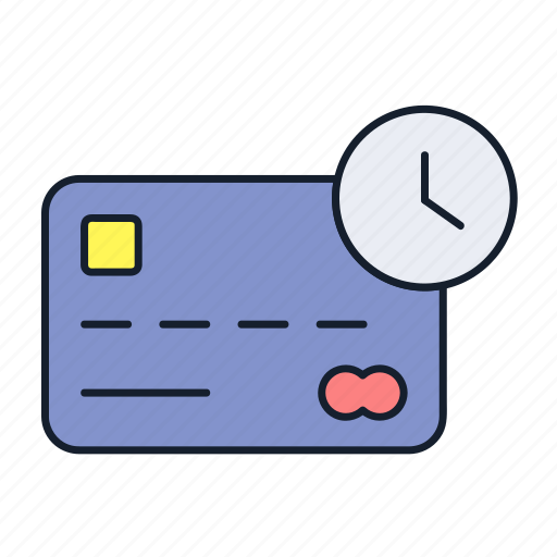 clock, credit card, debit card, master card, payment, process, transaction icon