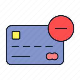 block, credit card, debit card, master card, payment, remove, transaction icon
