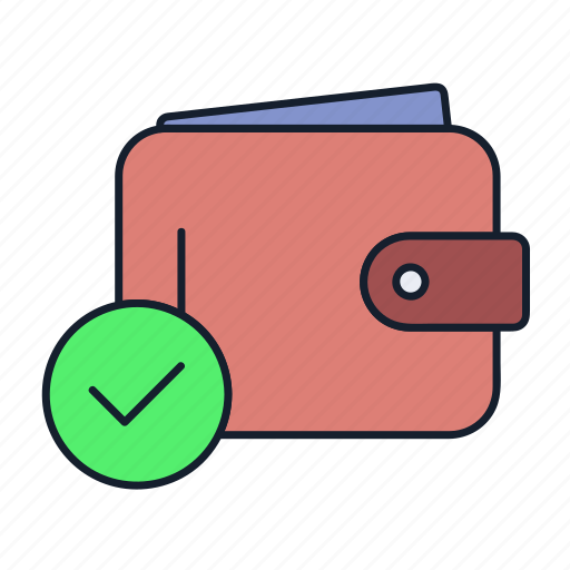 cash, money, payment, purse, verify, wallet icon