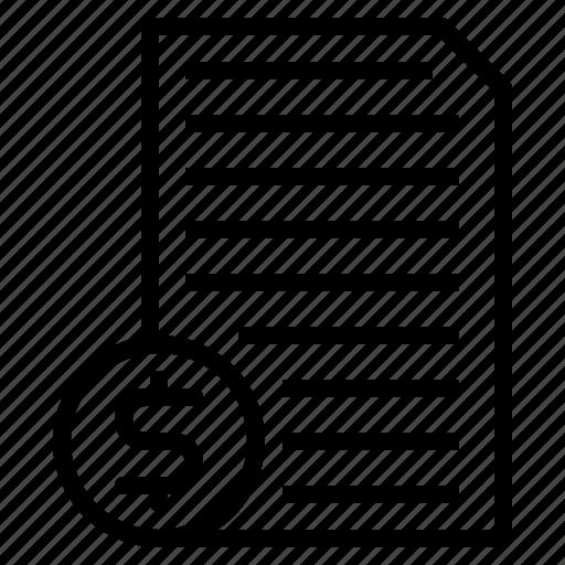 bill, document, money, paper icon