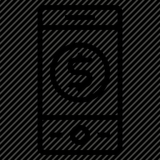 cash, money, payment, phone icon