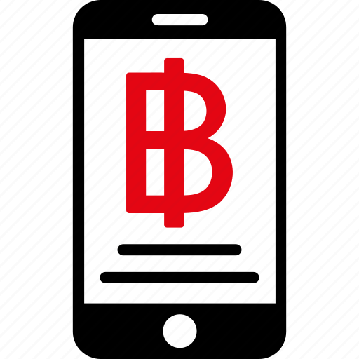 bitcoin, currency, iphone, mobile, money, payment, thai baht icon