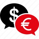 bank activity, banking business, chat, currency exchange, dollar, euro, money transfer icon