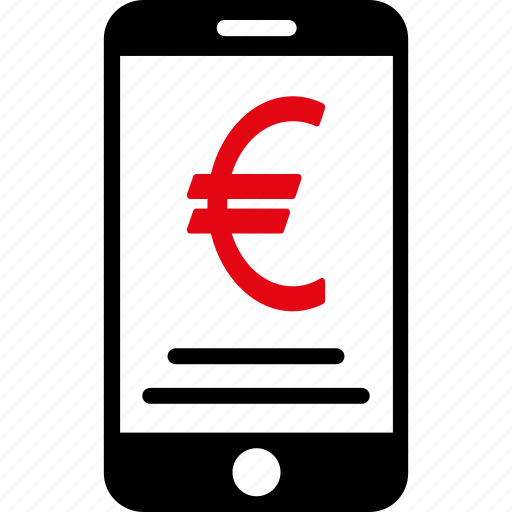 euro, finance, iphone, mobile, money, phone, telephone icon