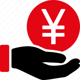 banking, currency, finance, hand, japan, japanese yen, money icon