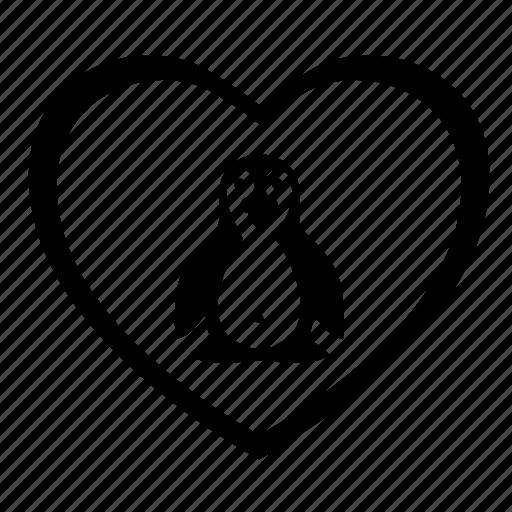 animal, heart, love, penguin, romantic icon