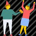 birthday enjoying friends, birthday enjoyment, birthday entertainment, celebrations, party icon