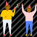 birthday celebrations, birthday crackers, birthday fireworks, firework for party, friends celebrating birthday icon