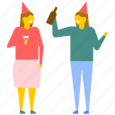 alcoholic drink sharing, birthday party, celebrations, drink sharing, enjoyment icon