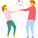 love, lovers, lovers holding hands, romance, romantic couple icon