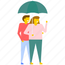 couple under umbrella, love in rain, lovers under umbrella, passion, romance icon