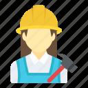 contractor, female builder, female carpenter, handyperson, handyworker icon