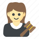 arbitration, attorney, magistrate, prosecutor, woman judge icon