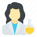 chemist, lab assistant, lab research, lab technician, woman scientist icon