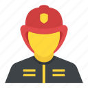 avatar, conflagration, firefighter, fireman, rescuer icon