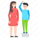 body height, height chart, height growth, height measurement, tallness icon