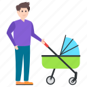 baby buggy, baby carriage, baby cart, baby pram, baby transport, stroller icon