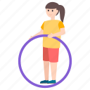 athlete, dance, exercise, fitness, fun, gymnast, hula hoop icon