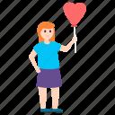 balloon girl, cute girl, entertainment, fun activity, joy icon