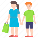 couple, purchasing, shopping, shopping time, window shopping icon