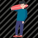 fun activity, outdoor game, outing, skateboarder, skateboarding icon