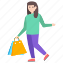 purchasing, shopping, shopping girl, shopping time, window shopping icon