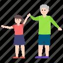 elderly, granddaughter, grandfather, grandpa, grandparent icon
