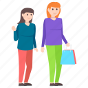 purchasing, shopping, shopping girls, shopping time, window shopping icon