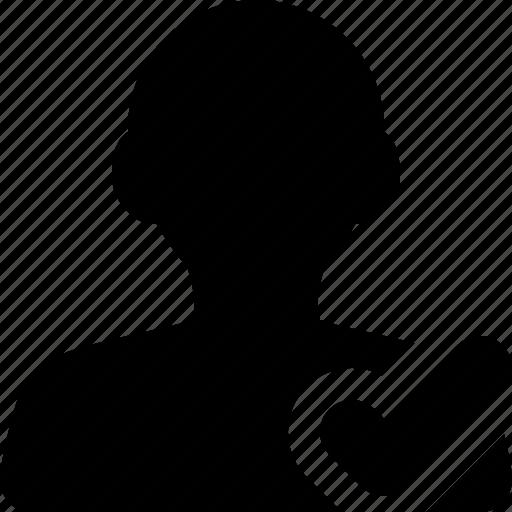 accept, checkmark, female, follow, ok, profile, user, woman icon