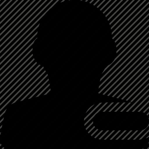 male, man, minus, profile, remove, user icon