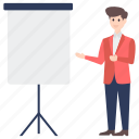business presentation, business seminar, business training, leadership training, professional training icon