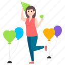 birthday girl, celebration, enjoyment, entertainment, fun, party girl icon