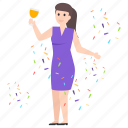 celebration, enjoyment, entertainment, fun, party, party girl icon