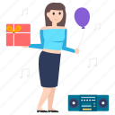 celebration, enjoyment, entertainment, fun, gift, party, party girl icon