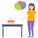 birthday celebration, birthday girl, cake, enjoyment, entertainment, fun, party girl icon