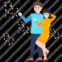 celebration, couple, dancing couple, dancing guy, dancing people, enjoyment, party icon