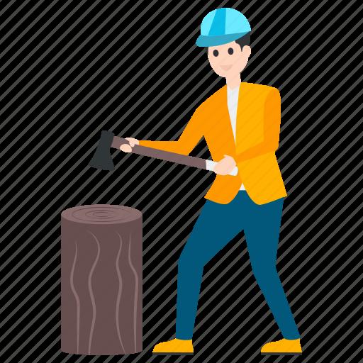axeman, carpenter, lumberjack, lumberman, woodcutter icon