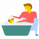 baby bathing, baby care, baby shower, babyhood, fathercare icon