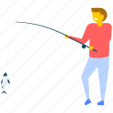 fish on rod, fisher, fisherman, fishery, fishing icon