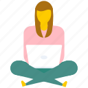 female with laptop, internet browsing, surfing internet, web surfing, working on laptop icon
