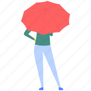 back pose, back view woman, woman posing, woman under umbrella, young lady icon