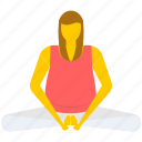 bound angle pose, gymnastic, relaxing, yoga icon