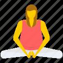 bound angle pose, gymnastic, relaxing, yoga