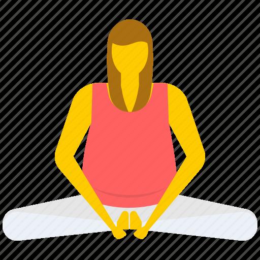 bound angle pose, gymnastic, relaxing, yoga icon